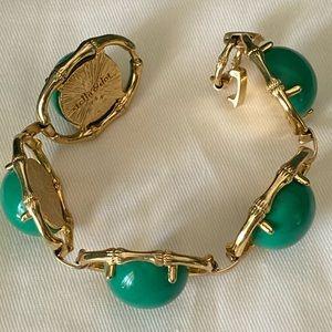 Stella & Dot Green / Gold zinnia bracelet